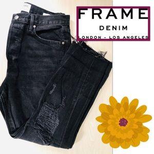 Frame Le Original High-Waist Distressed Crop